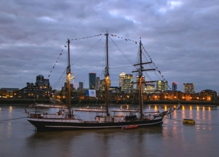 Tall Ship, Thames Path, Greenwich, London